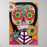 Poster rosado del cráneo del azúcar de la mujer
