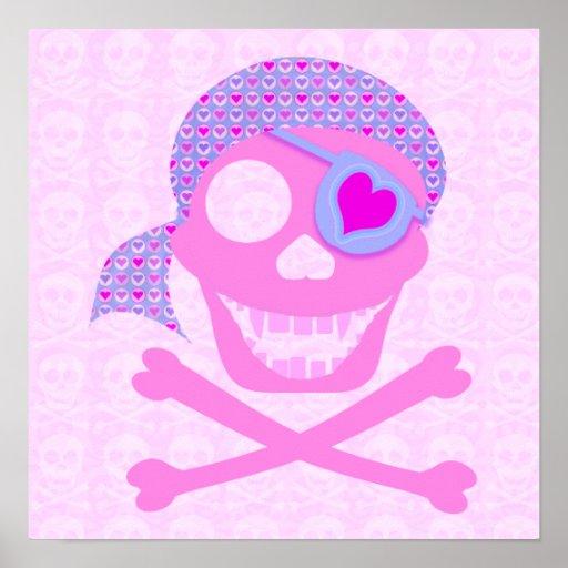 Poster rosado del cráneo del pirata