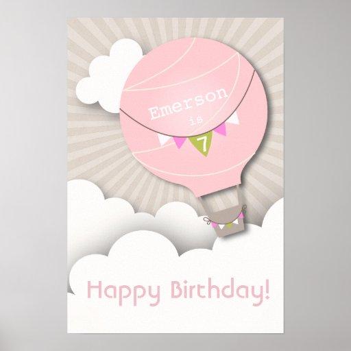 Poster rosado del cumpleaños del globo del aire ca