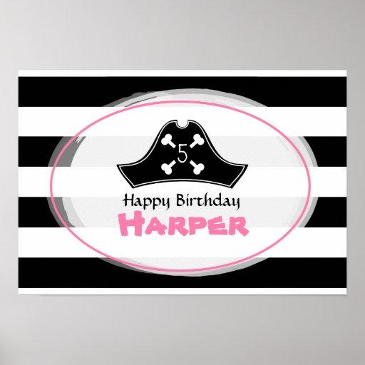 Poster rosado del cumpleaños del pirata