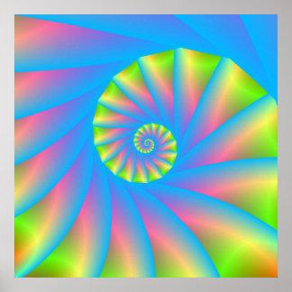 Poster rosado del espiral del verde azul