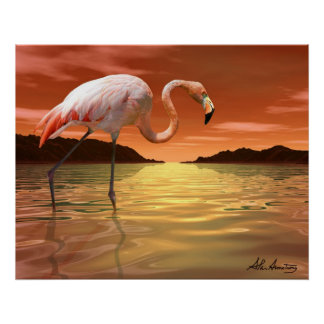 Poster rosado del flamenco de la Florida
