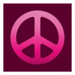 Poster rosado del signo de la paz