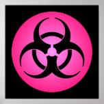 Poster rosado del símbolo del Biohazard