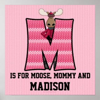 """Poster rosado del sitio del bebé del monograma """"M"""""""