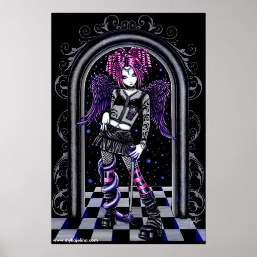 Poster rosado gótico del ángel del tatuaje de Nata Póster