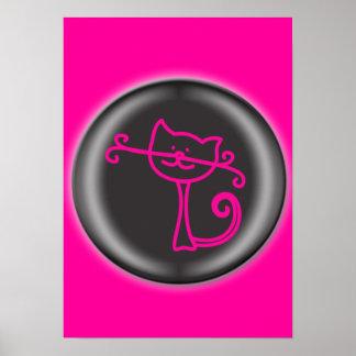 Poster rosado lindo del dibujo animado del gato póster