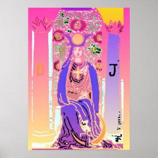 Poster rosado púrpura de Tarot de la alta sacerdot