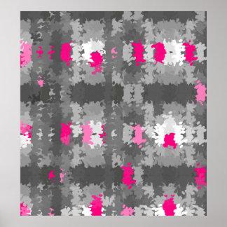 Poster rosado y gris del Pointillist