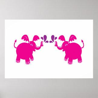 Poster rosado y púrpura del elefante póster