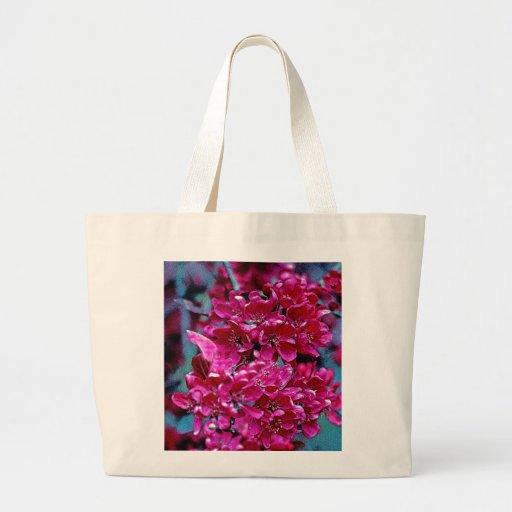 Poster rosado y rojo de la flor (1) bolsa tela grande