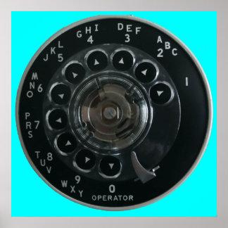 Poster rotatorio del dial del teléfono del vintage