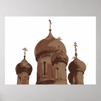 Poster ruso de la iglesia