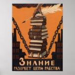 Poster ruso de la propaganda de la educación del v