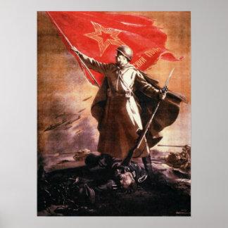 Poster ruso de la propaganda de WWII