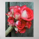 Poster rústico color de rosa de madera del granero