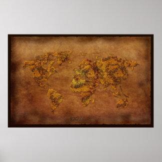 Poster rústico del arte del mapa del mundo del efe