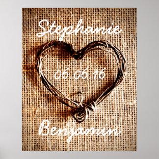 Poster rústico del boda de la arpillera del corazó