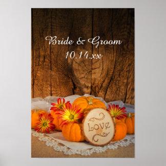 Poster rústico del boda de la caída de las