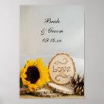Poster rústico del boda del arbolado del girasol