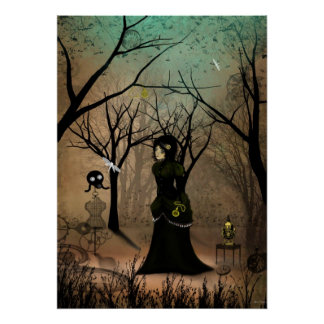 Poster rústico del chica del Victorian del arte de