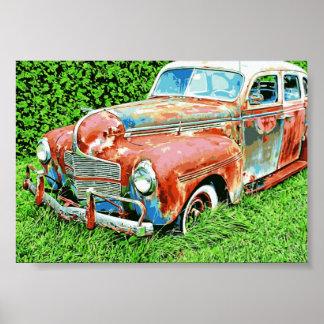 Poster rústico del coche del vintage del coche póster