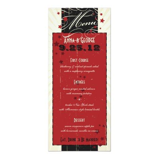 """Poster rústico: Menú de encargo rojo y negro del Invitación 4"""" X 9.25"""""""