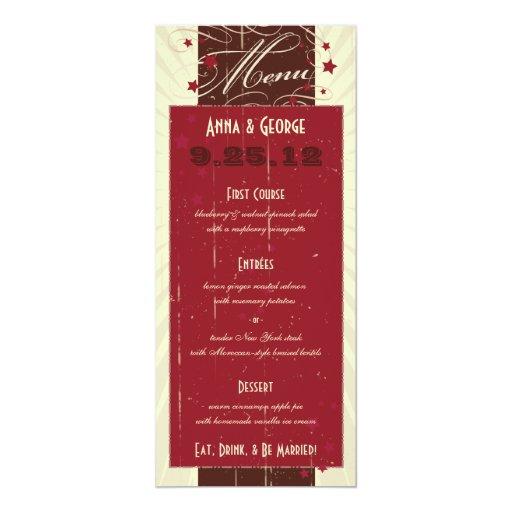 """Poster rústico: Menú del boda de Borgoña del Invitación 4"""" X 9.25"""""""