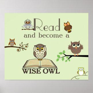 Poster sabio de la instrucción de los búhos