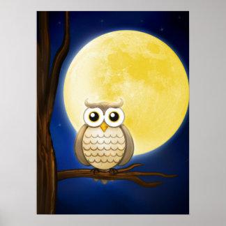 Poster sabio del búho el | de la noche linda póster
