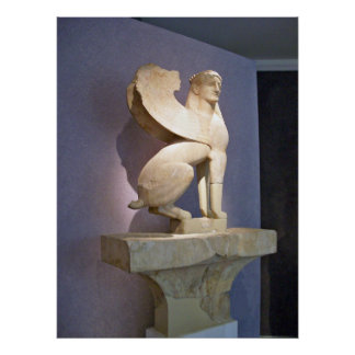 Poster sagrado de la esfinge del mármol de la puer