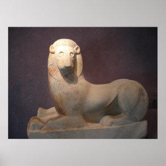 Poster sagrado del león de la puerta del Griego