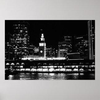 Poster: San Francisco at night clock tower