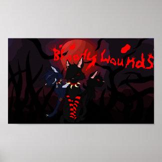 poster sangriento de las heridas