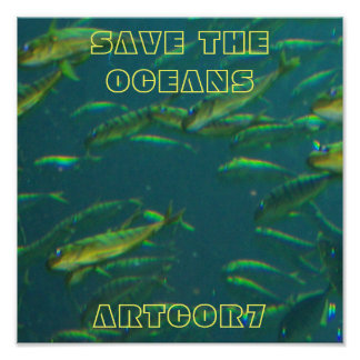Poster Save the Oeans Golden Fish on Green
