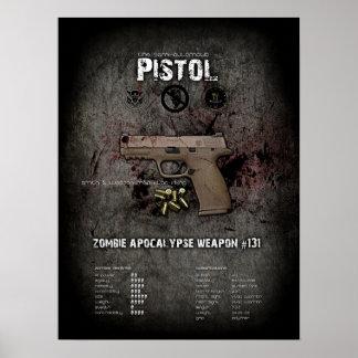 Poster Semi-Auto de la pistola - defensa del zombi