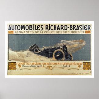 Poster showing Automobiles Richard-Brasier winning