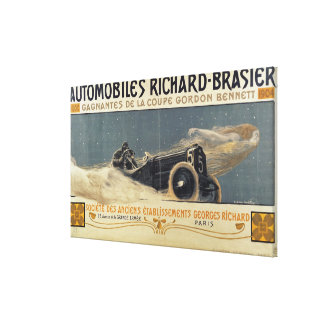 Poster showing Automobiles Richard-Brasier winning Canvas Print