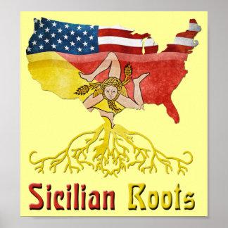 Poster siciliano americano de las raíces
