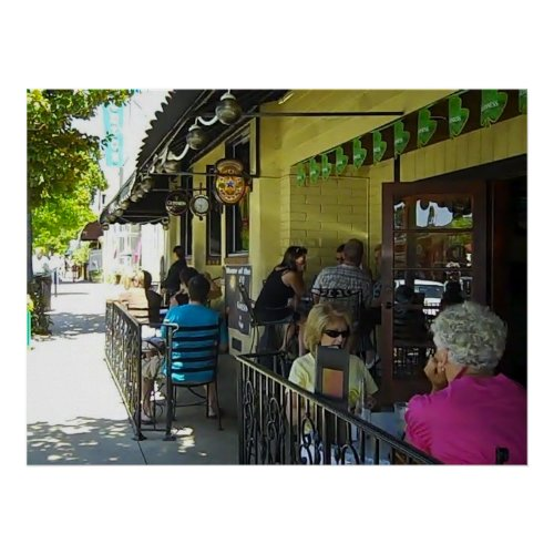 Poster: Sidewalk Dining in Paso Robles, California Poster