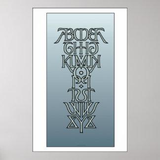 Poster simétrico de Ambigram del alfabeto