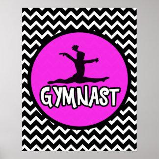 Poster simple blanco y negro del gimnasta de