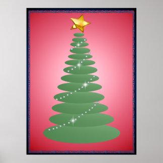 Poster simple del árbol de navidad y de la estrell