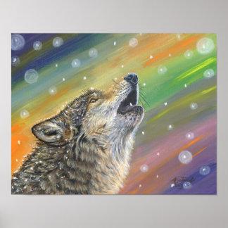 Poster sitiado por la nieve del lobo gris póster