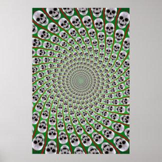 Poster Skull Spiral Trippy Design Green Red