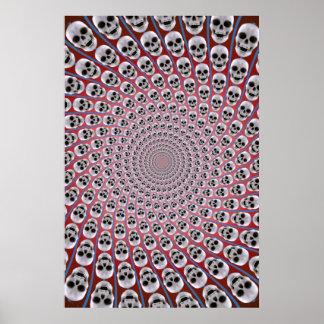 Poster: Skull Spiral: Trippy Design: Red & Blue Poster
