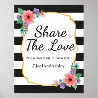 Poster social de la muestra del boda de Hashtag de