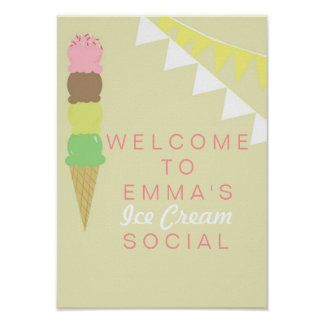 Poster social del fiesta del helado