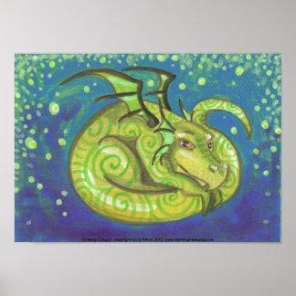 Poster soñador del arte de la fantasía del dragón