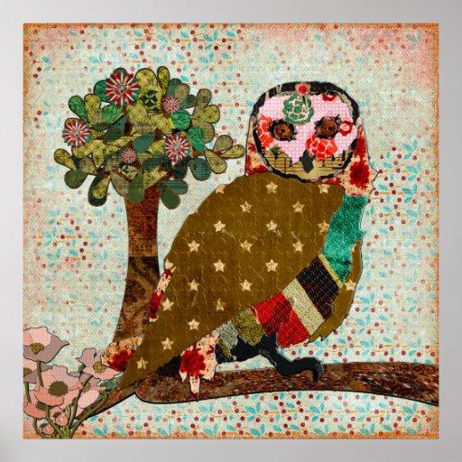 Poster soñador del vintage del día del búho color